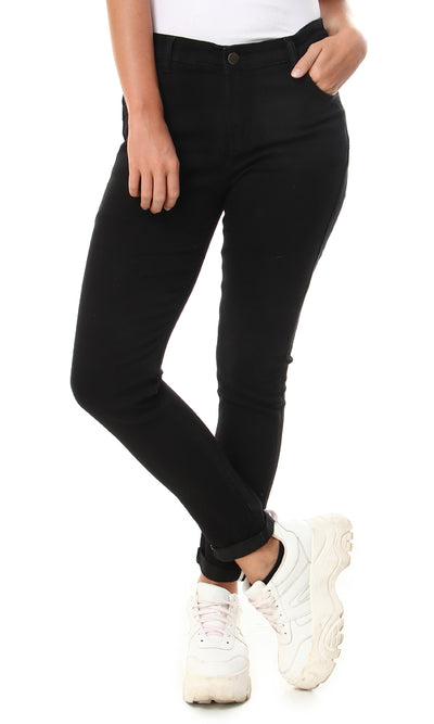 34620 Plain Casual Fly Zipper Black Pants