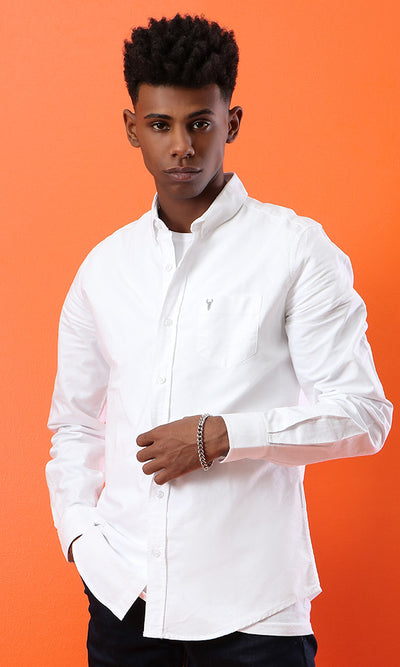 34665 Casual Buttoned Down Basic Shirt - White