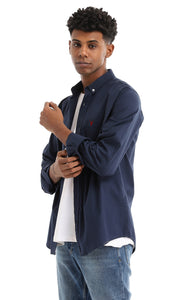 34667 Solid Long Sleeve Midnight Blue Basic Shirt
