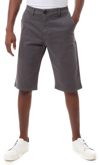 34670 Cotton Fly Zipper Summer Short - Grey