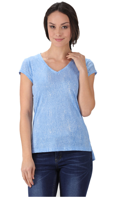 34798 High Low T-Shirt - Sky Blue