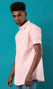 34843 Short Sleeves Buttoned Basic Shirt - Light Pink