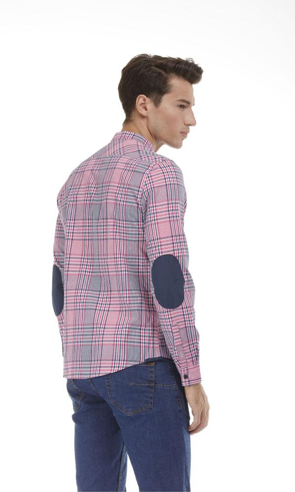 Elbow Patch Checkered Shirt -Pink