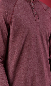 35068 Buttoned Neck Heather Burgundy Basic Henley Shirt