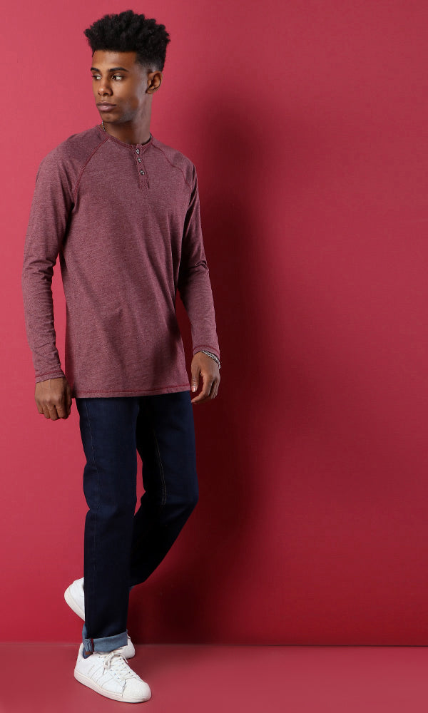 Heather Henley T-Shirt-Burgundy