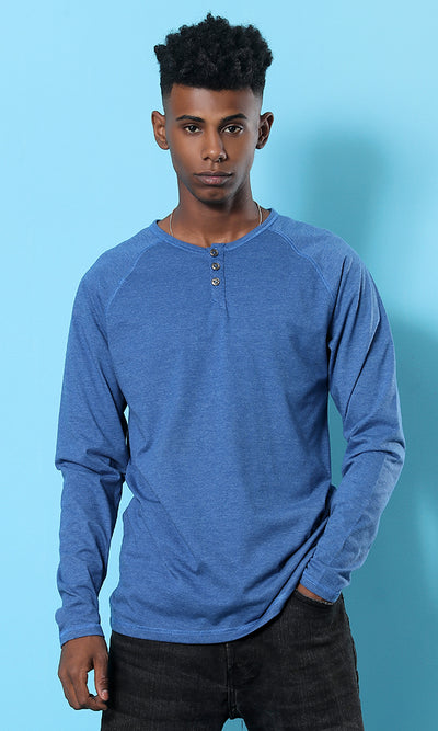 Heather Blue Casual Henely T-shirt - male long sleeve t-shirts