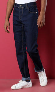 35098 Slim Fit Basic Navy Blue Casual Jeans