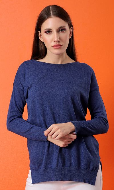 35150 Hi-Low Basic Knitted Dark Blue Basic Pullover