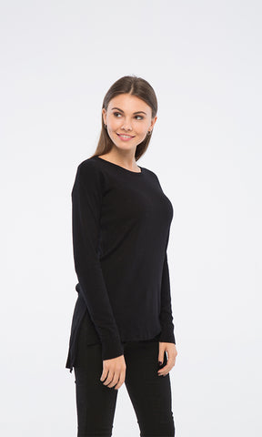 35152 Crew Neck Hi-Low Black Pullover