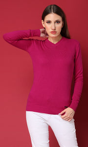 35156 Basic Solid V-Neck Fuchsia Pullover