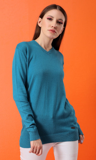35157 Basic Slip On V-Neck Pullover