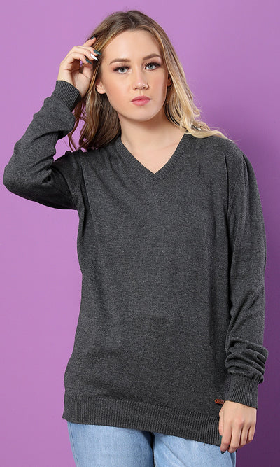 35158 Solid Chic Hem V-Neck Dark Grey Basic Sweater