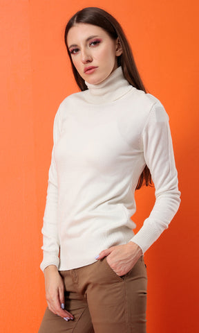35163 Make It Easy To Off White Turtleneck Long Sleeves Basic Pullover