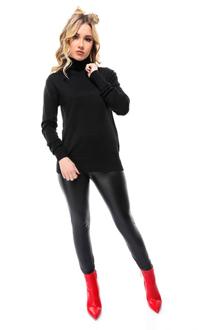 35164 Black Basic Solid Pullover