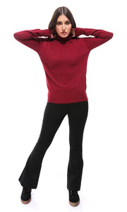 35166 Basic Long Sleeves Burgundy Pullover