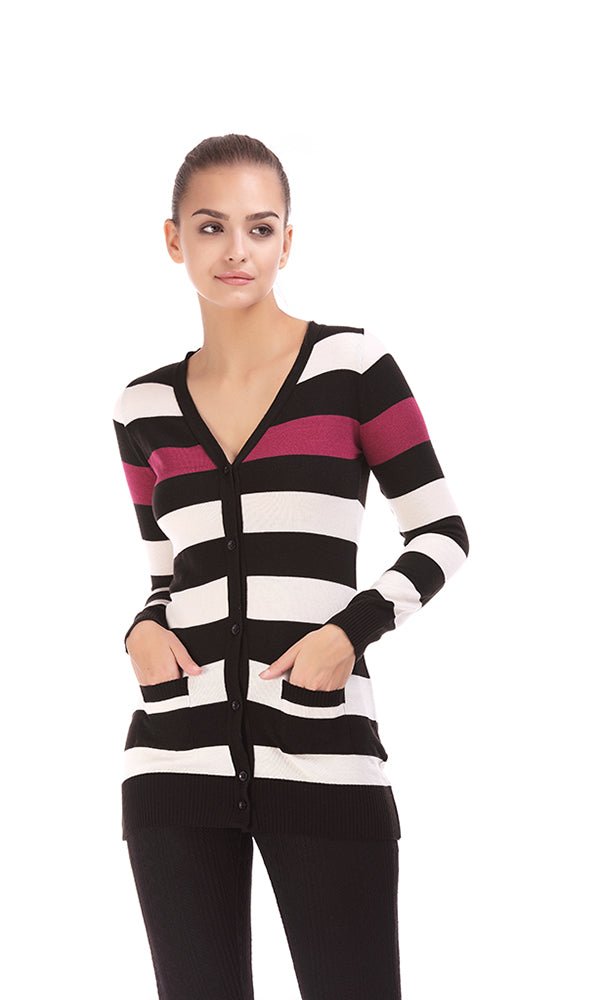 Striped Long Cardigan-Long Sleeves-Closure Buttons-Deep (V) Neck