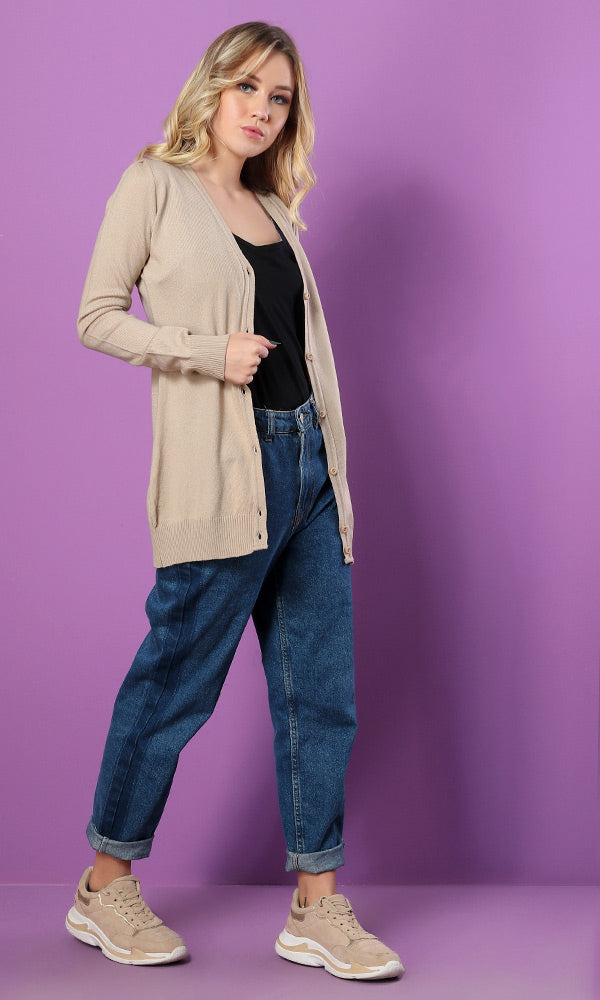 Fitted Long Cardigan-Deep V-Neck