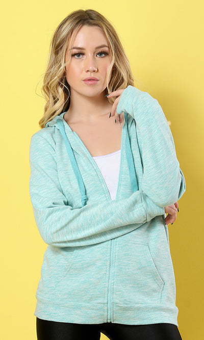 35177 Hooded Basic Sweatshirt - Aqua