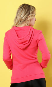 35180 Basic Sportive Front Pocket Coral Sweatshirt