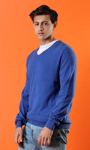 35191 Royal Blue Basic Casual Pullover