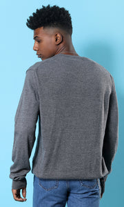 35195 Dark Grey Comfy V-Neck Basic Pullover