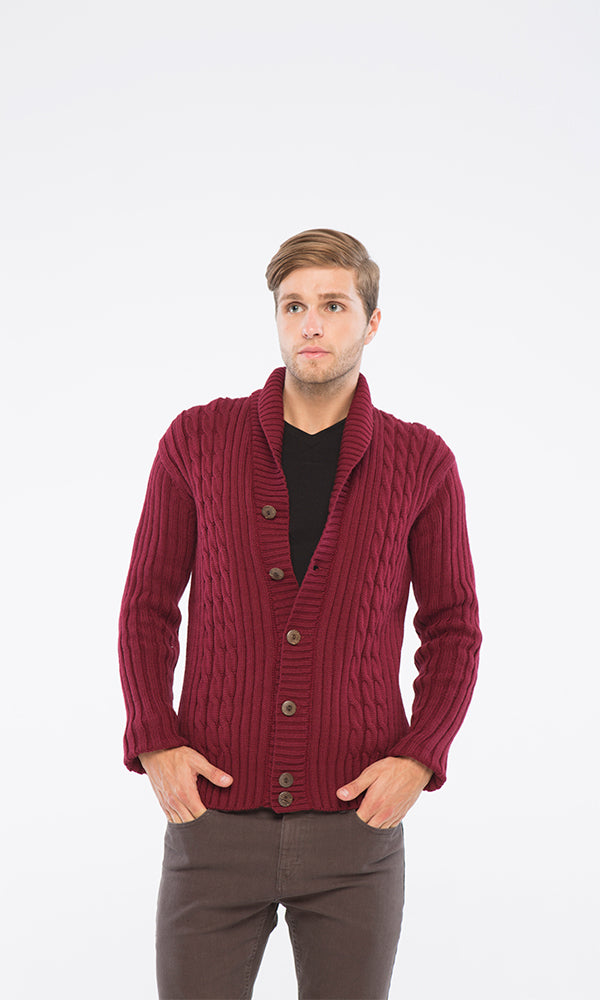 Cables Sweater Cardigan-Shawl Collar
