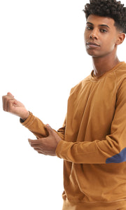 35200 Patch Sleeves Solid Havana Basic T-shirt