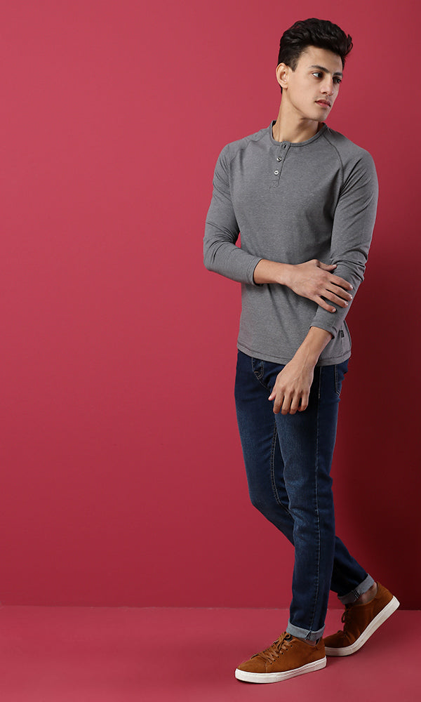 35208 Basic Buttoned Long Sleeves T-Shirt- Heather Light Grey