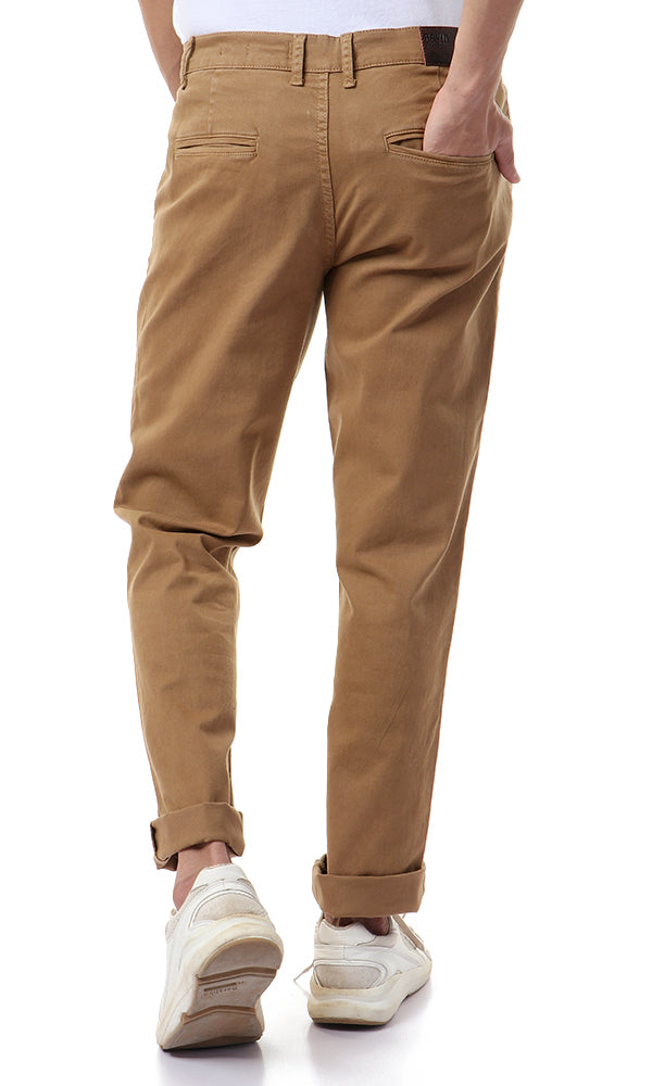 35226 Camel Solid Straight Casual Pants