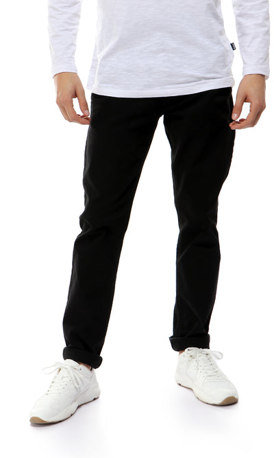 35227 Straight Fit Black Solid Pants