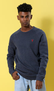 35234 Elegant Long Sleeves Navy Blue Basic Pullover