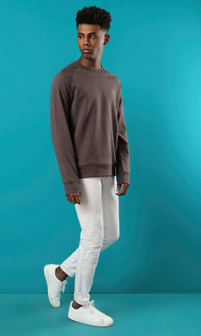 35235 Heather Chocolate Basic Slip On Sweatshirt