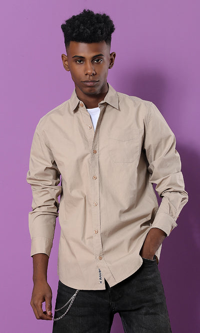 Cotton Solid Long Sleeves Shirt - Coffee - male shirts