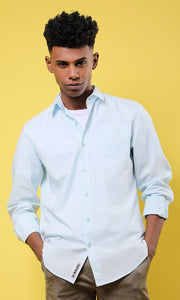 Solid Light Blue Long Sleeves Shirt
