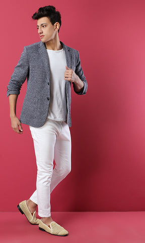 Textured Blazer - Grey