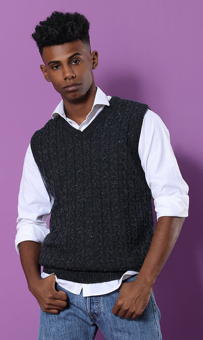 Neppy Cables Vest - Navy Blue - male vest
