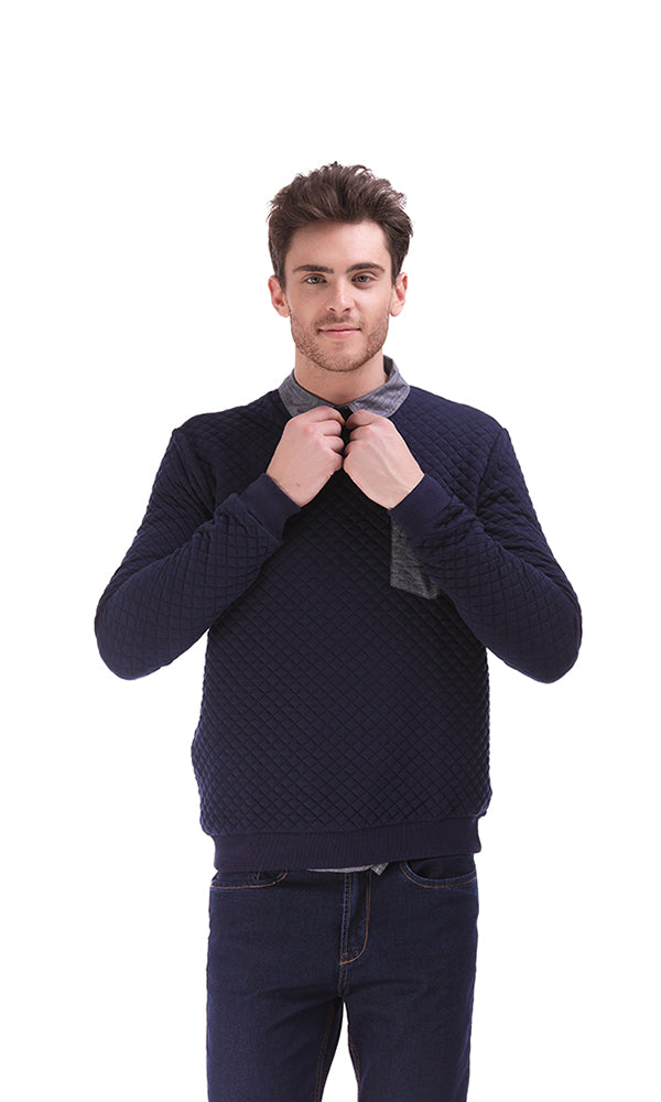 Quilted Sweatshirt-Chambray Pocket-Round Neck