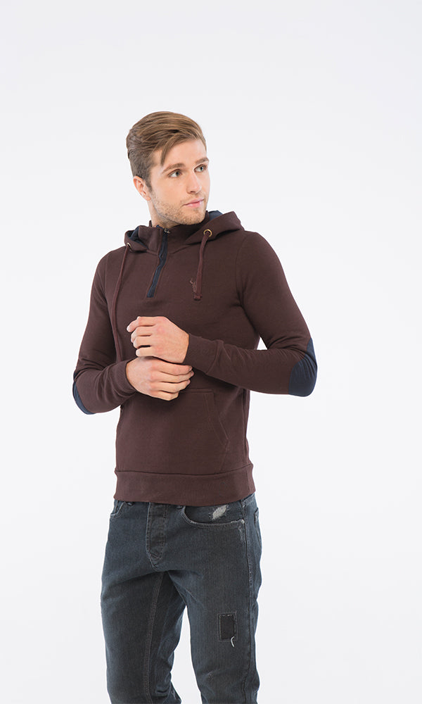 Hooded Sweatshirt-Elbow Patch-Hand Warmer Pockets