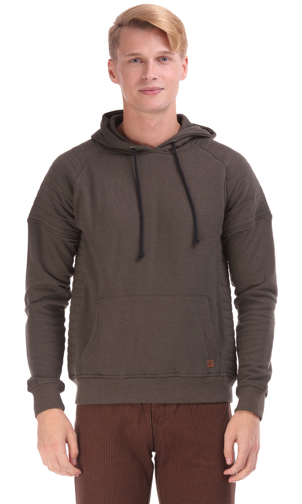 Hooded Sweatshirt-Quilted Shoulder-Hand Warmer Pockets