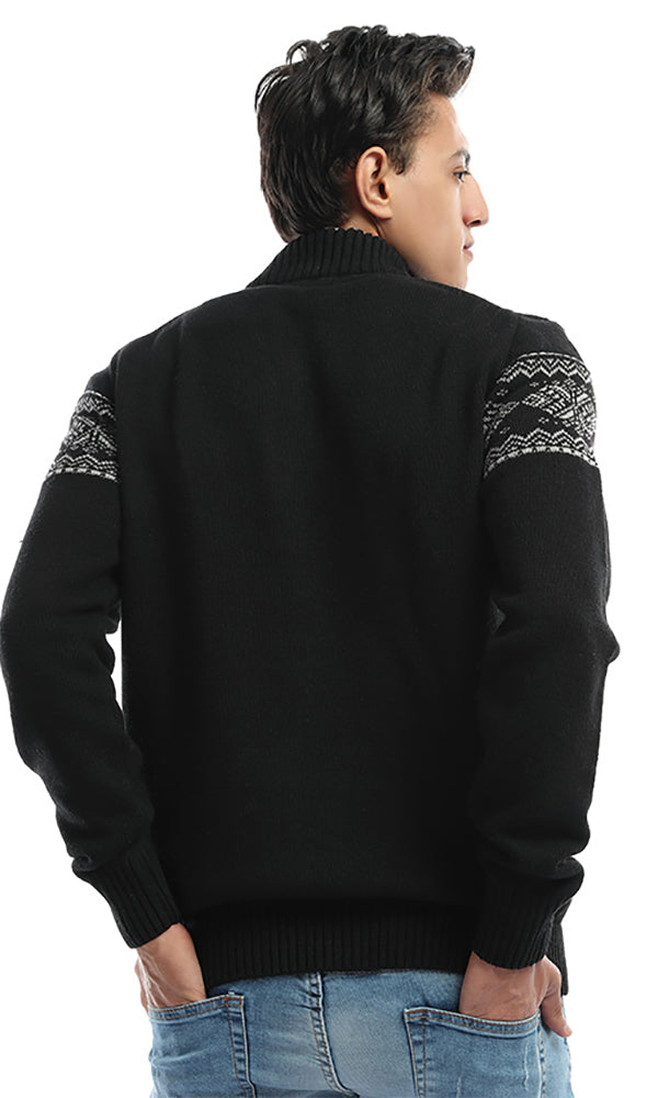 Jacquard Sweater-Contrast Sleeves-Half Zipper High Neck