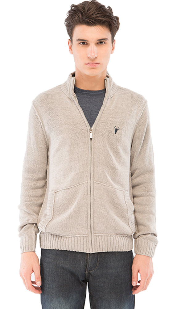 Casual Zipped Sweatshirt - Light Grey