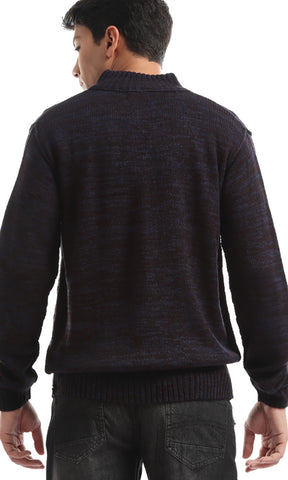 Elegant Zip Pocket Heather Navy Knit Hoodied Pullover