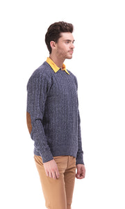35326 Cables Pullover - Navy Blue