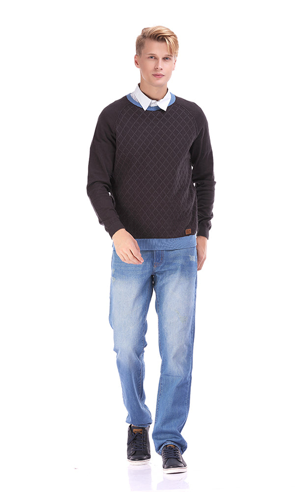 Quilted Sweater-Contrast Rib-Round Neck