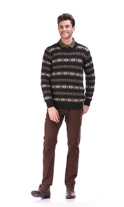 35335 Jacquard Pullover - Brown