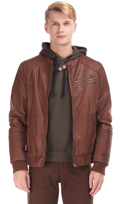 35341 Faux Leather Jacket - Brown