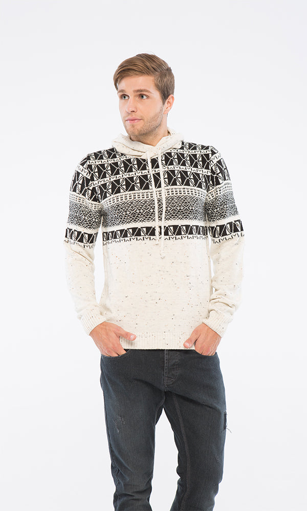 Patterned Pullover - Off White & Black