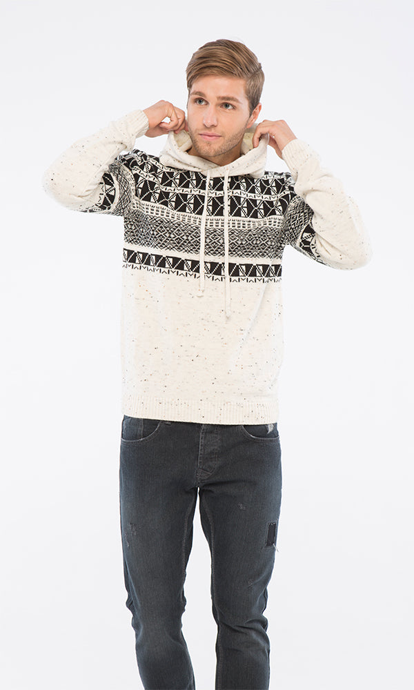 f1a02bfb5592 Patterned Pullover - Off White   Black