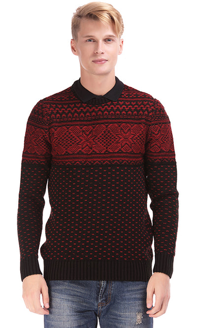 35370 Jacquard Pullover - Black & Red