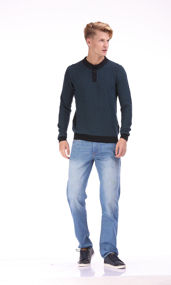 polo sweater - contrast rib
